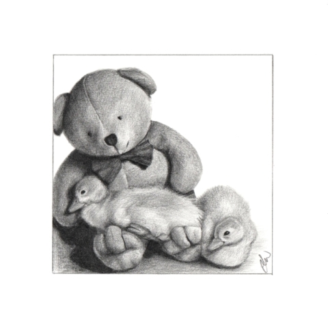 Pencil drawing of 2 ducklings and a teddy bear