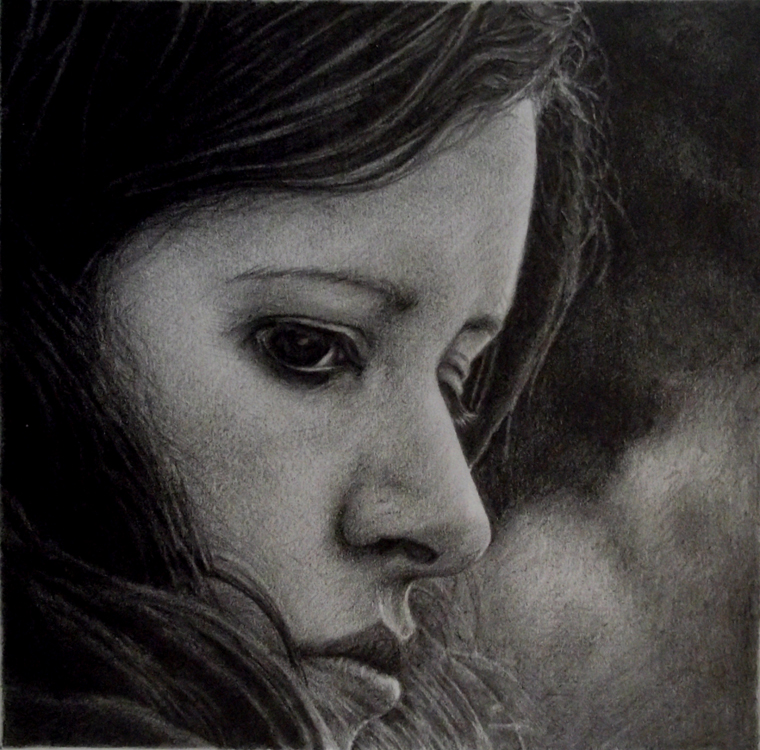 Pencil portrait of a woman.
