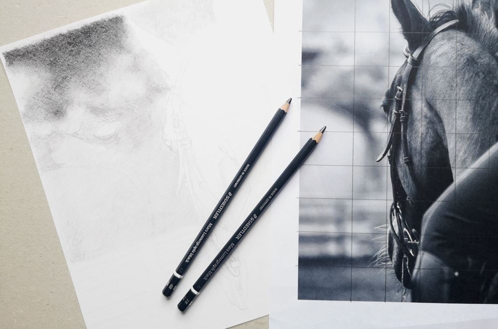 How to draw a blurred background for a horse drawing in graphite pencil.