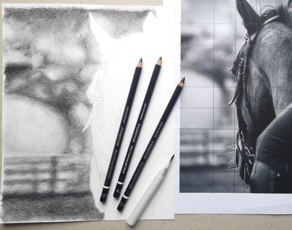 How to draw a blurred background for a horse drawing.